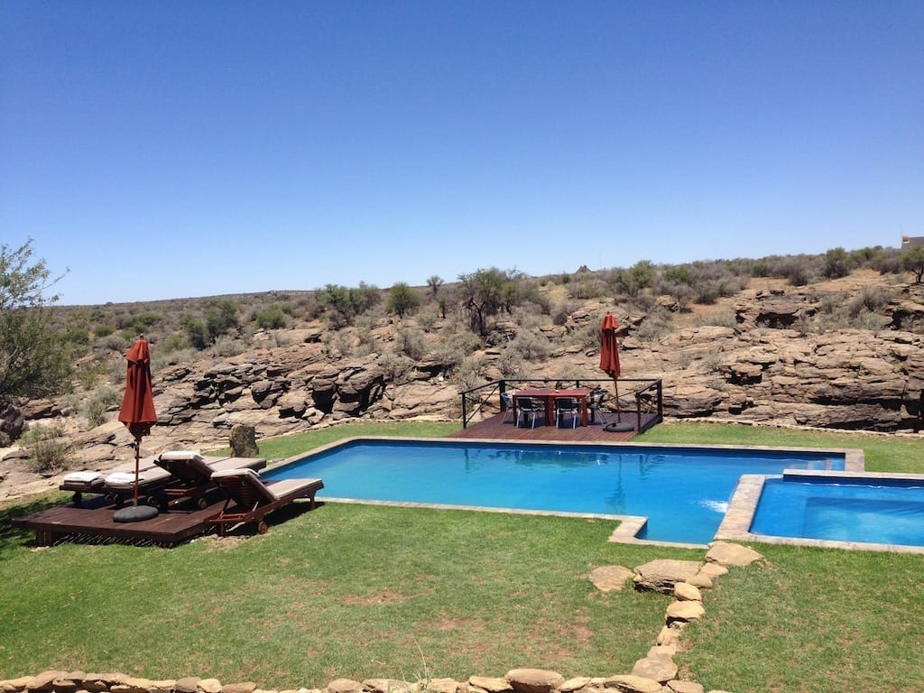 One of the coolest pools ever at Naankuse Wildlife Lodge near Windhoek, Namibia