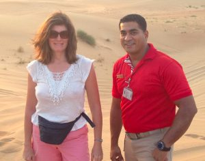 Gundi Gabrielle aka SassyZenGirl with Arabian Adventures Guide in the Dubai Desert