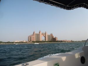 Luxury Yacht closing in on Atlantis Hotel Dubai