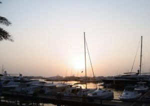 boats at sunset in the marina yacht club