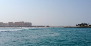 Palm Jumeirah Lagoon from a small Yacht