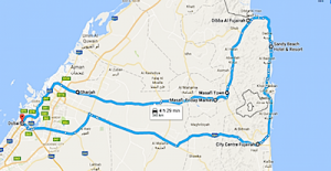 Dubai Day Trips East Coast and mountains map