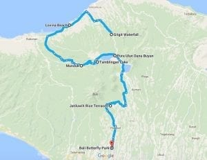 Bali - Map for Day Trips in the Northern Mountains