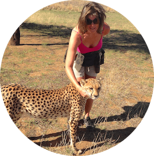 Gundi Gabrielle with Cheetah in Namibia - Naankuse